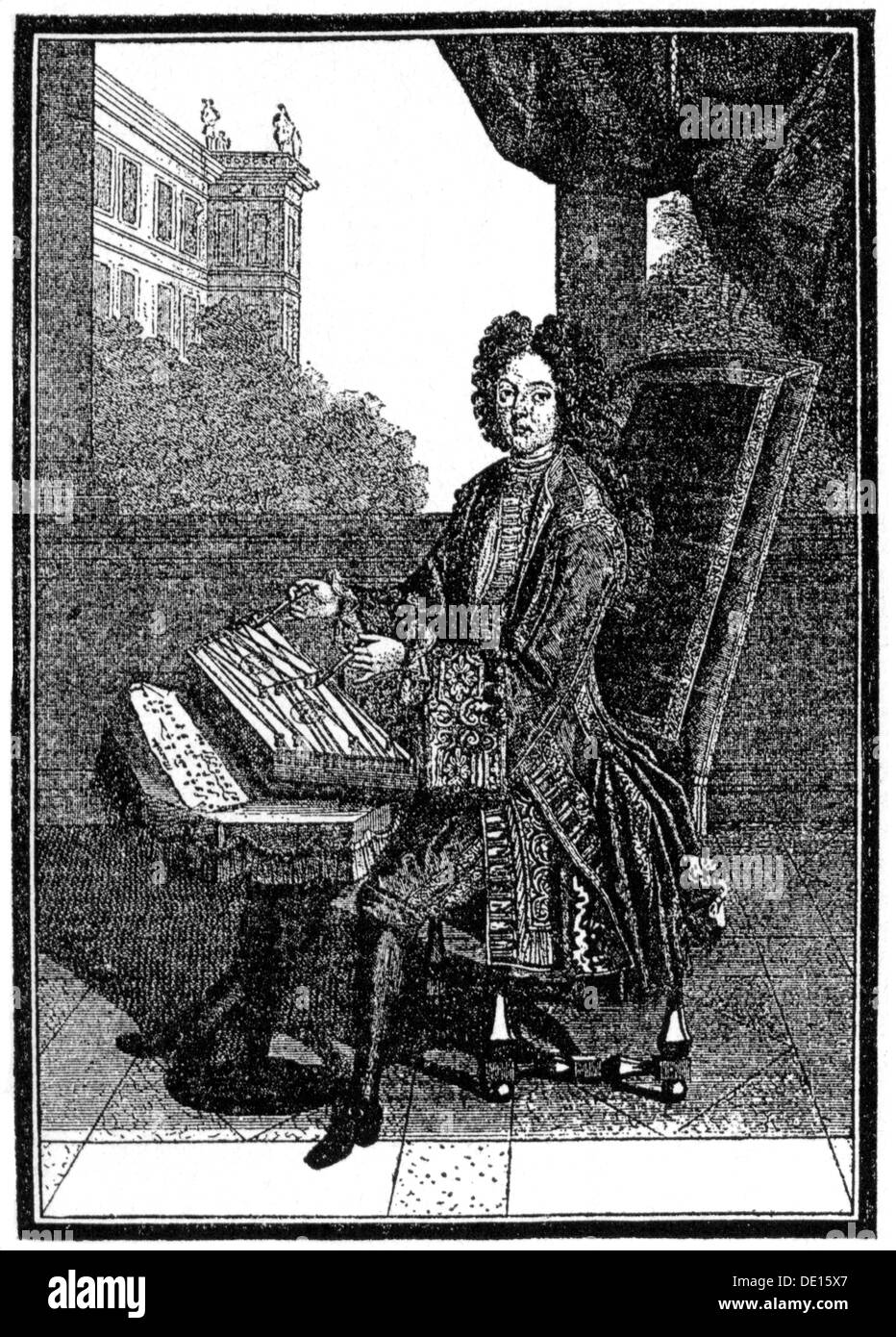 fashion 17th century aristocrat playing cimbalom copper engraving France second half 17th century 17th century graphic - Stock Image