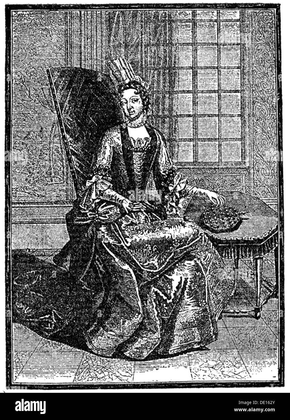 Rohan-Chabot, Anne de, 1648 - 4.2.1709, French lady-in-waiting, full length, playing solitaire, copper engraving by Claude Auguste Berey (circa 1680 - circa 1730), 1697, Artist's Copyright has not to be cleared - Stock Image