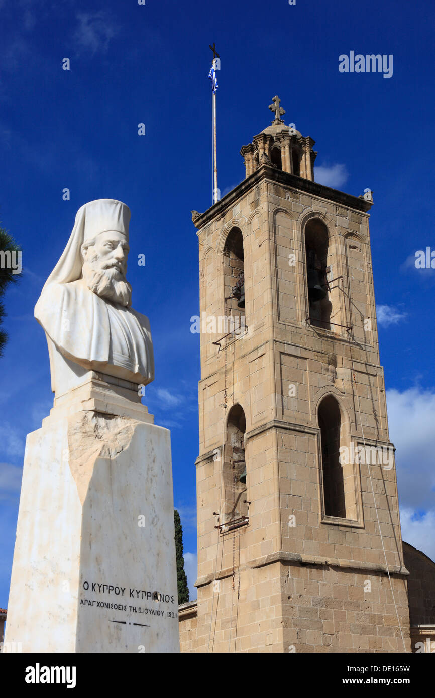 Cyprus, Nicosia, Lefkosia, the tower of St. John's Cathedral, St. John's Cathedral and statue at Kyprianou Square - Stock Image