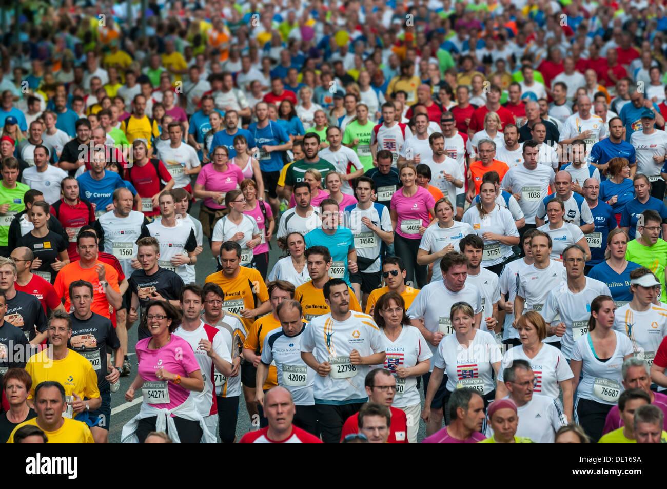 Field of runners at the J.P. Morgan Corporate Challenge Run, Westend, Frankfurt am Main, Hesse, Germany - Stock Image