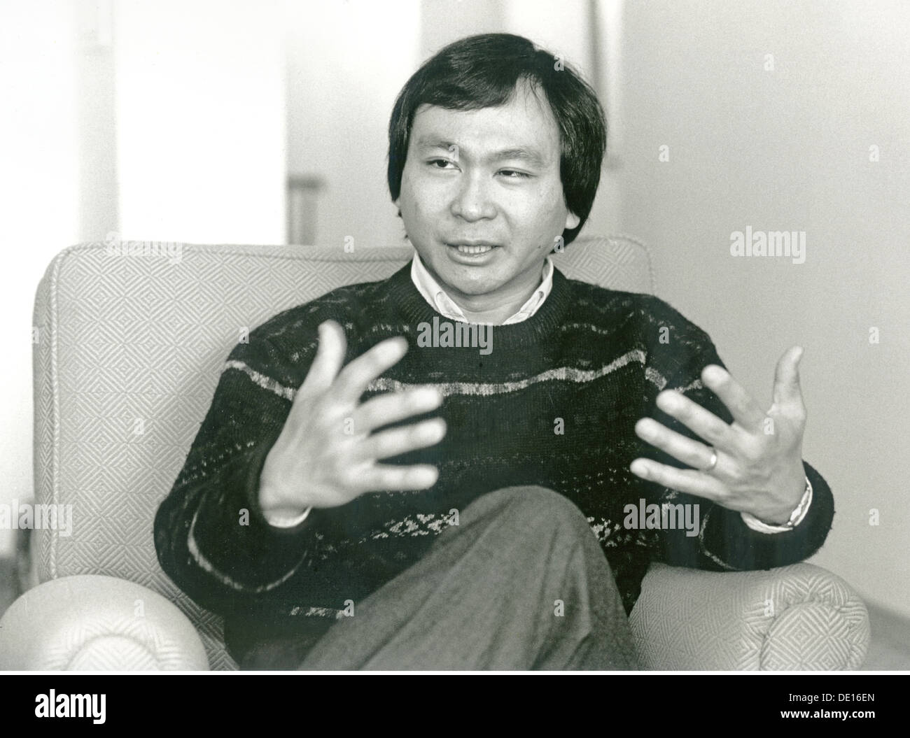 Fukuyama, Francis, * 27.10.1952, American scientist, author, half length, during an interview to the thesis of his book 'The End of History and the Last Man', Munich, Germany, 22.2.1992, Additional-Rights-Clearances-NA - Stock Image