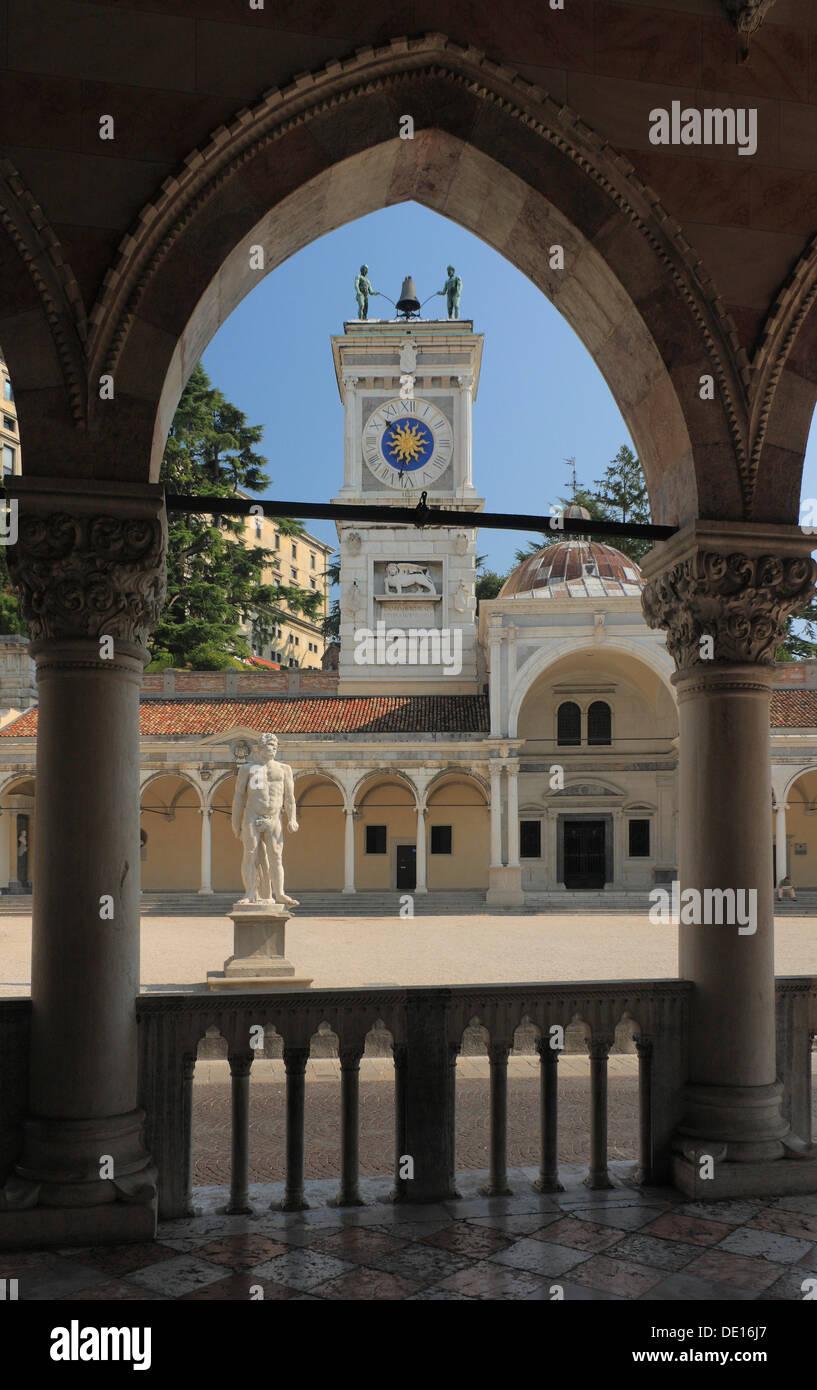 Clock Tower, Torre dell'Orologio, made by Giovanni da Udine based on a Venetian model, with the Loggia designed by Bernardino da - Stock Image