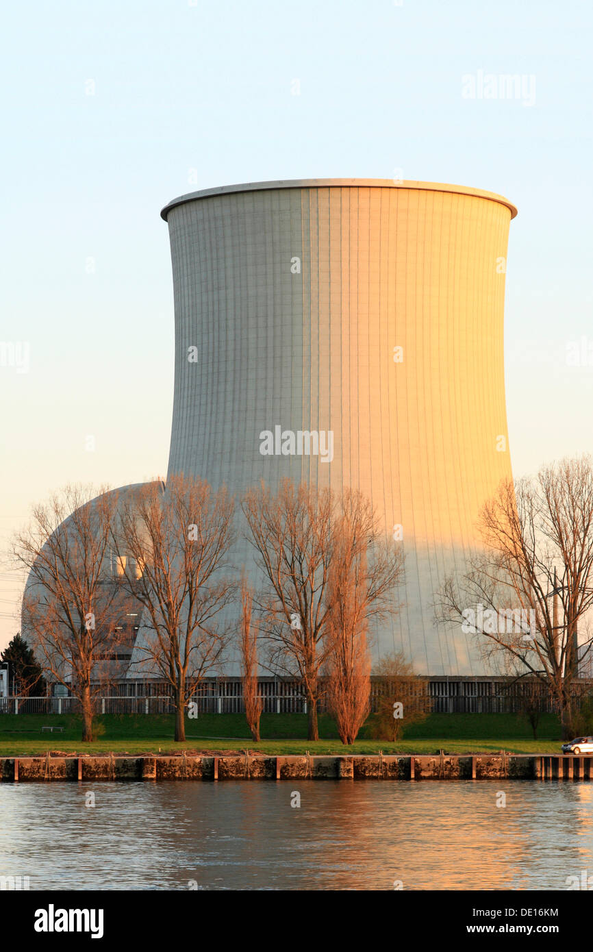 Cooling tower and reactor dome in the evening sun, Biblis nuclear power station on the Rhine, Bergstrasse, Hesse Germany, Europe - Stock Image