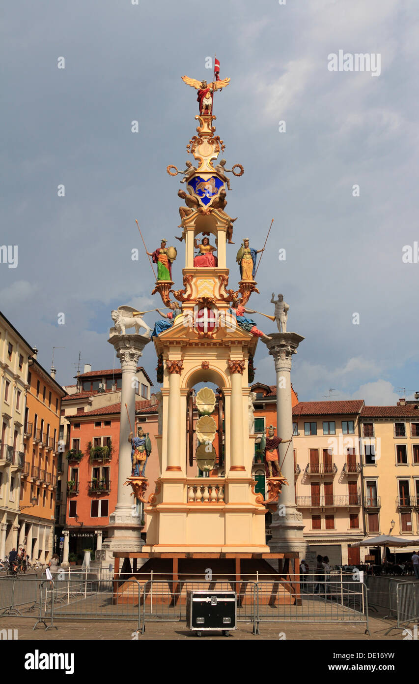 Rua, pyramidal tower, the tower is built every year in September on Piazza dei Signori square, Vicenza, Veneto region, Italy - Stock Image
