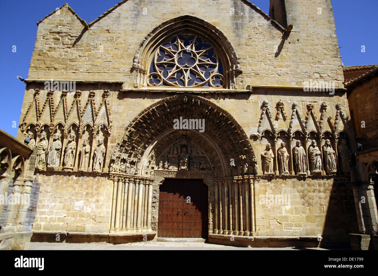 Facade of the church of St. Peter in Olite (Navarra, Spain) - Stock Image