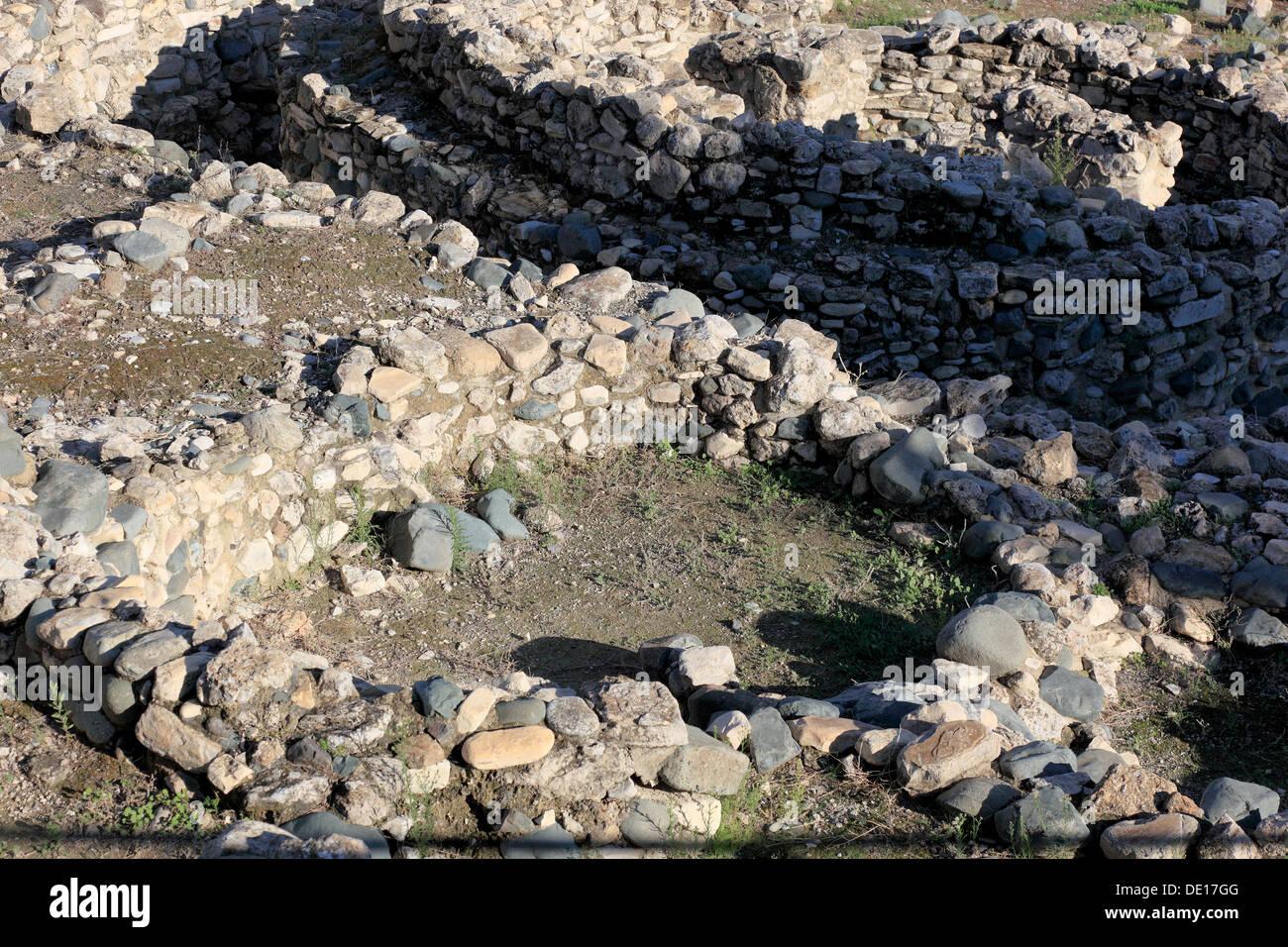 Cyprus, Chirokitia, also Khirokitia, Greek Choirokoitia, is an archaeological site on the Mediterranean island of Stock Photo