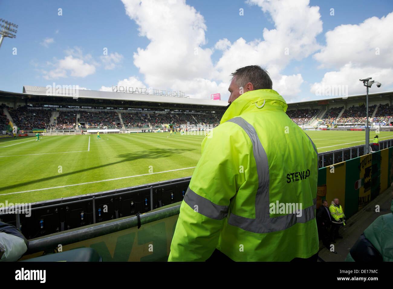 Holland-The Hague. 22-04-2012. Security at soccer stadium of 'Ado den Haag'. Photo: Gerrit de Heus Stock Photo