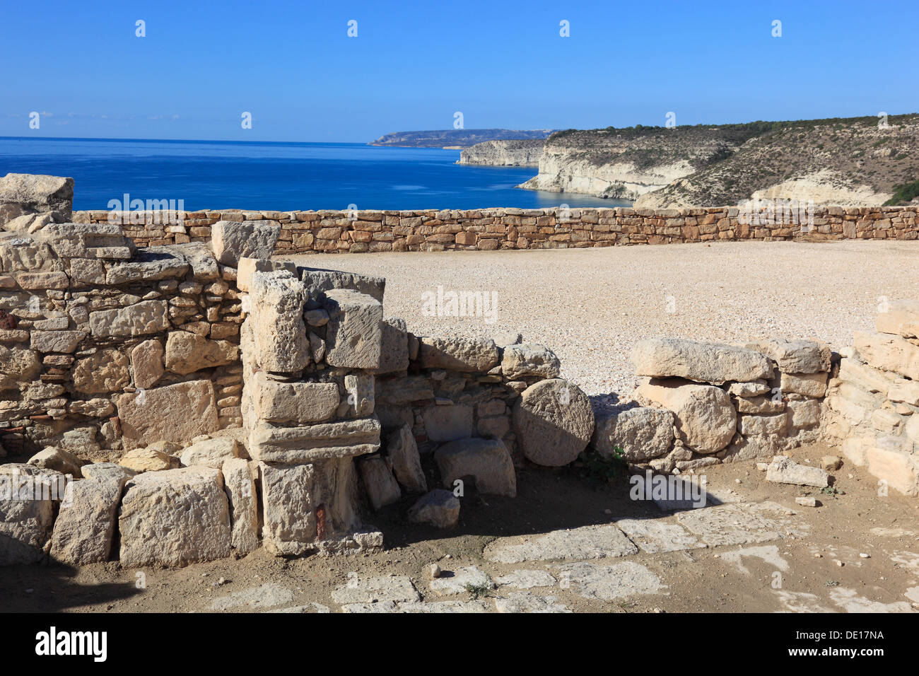 Cyprus, Kourion, Assyrian Ku-ri-i, ancient Greek, Latin, curium, historical, ancient archaeological site, ruins, sea, Mediterran - Stock Image