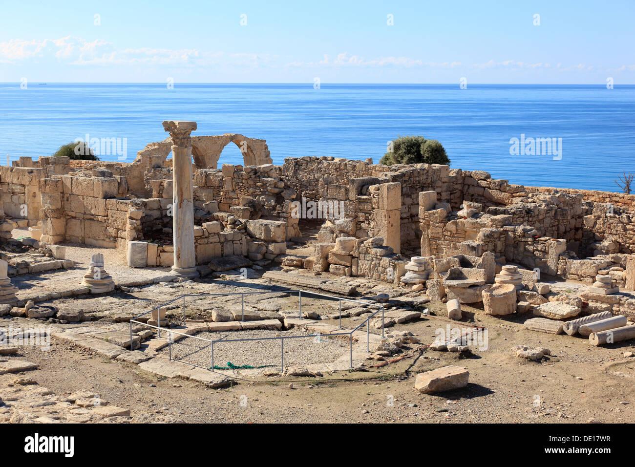 Cyprus, Kourion, Assyrian Ku-ri-i, ancient Greek, Latin, curium, historical, ancient archaeological site, ruins - Stock Image