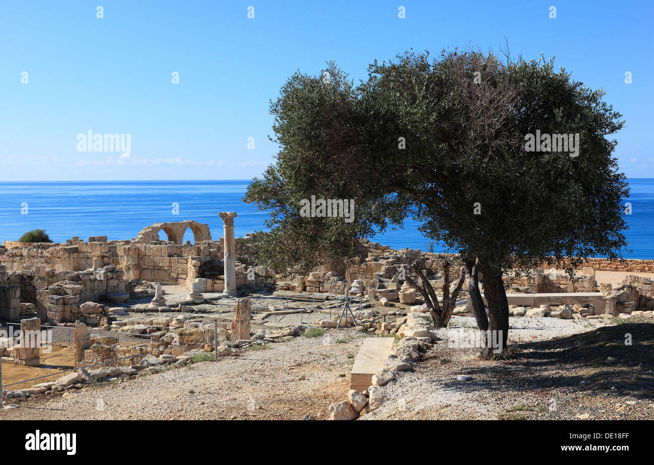 Cyprus, Kourion, Assyrian Ku-ri-i, ancient Greek, Latin, curium, historical, ancient archaeological site, ruins - Stock Image