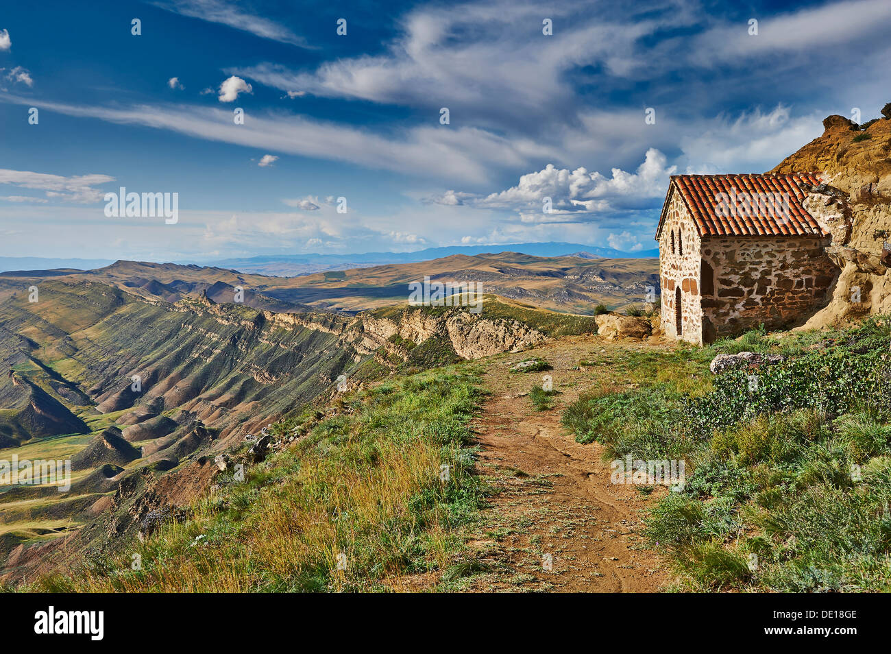 deserted landscape at the Azerbaijan border, David Gareja, Georgia - Stock Image