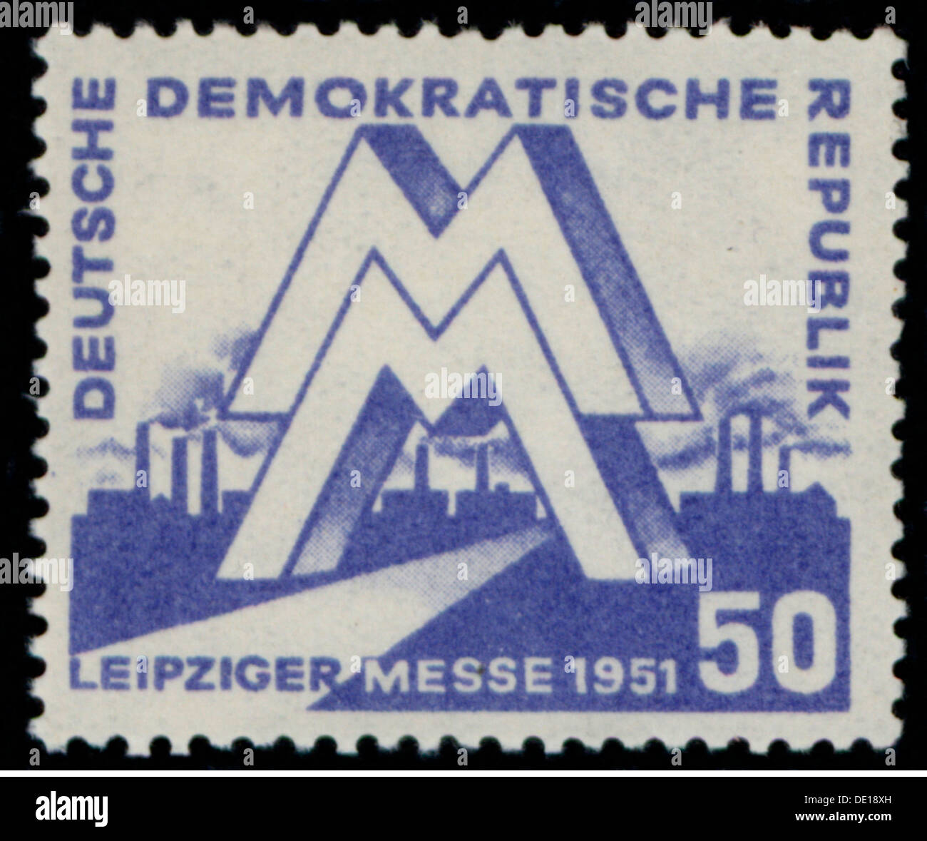 mail, postage stamps, Germany, Deutsche Post of the German Democratic Republic, 50 pfennig postage stamp, design by Egon Pruggmayer, date of issue 4.3.1951, valid until 31.3.1952, motif: Leipzig spring trade fair 1951, East-Germany, East Germany, GDR, DDR, Leipzig fair, Leipzig, symbol, symbols, emblem, emblems, logo, logos, fair sign, MM, industry, industries, trade, economy, postal stamp, postal stamps, 1950s, 50s, 20th century, mail, post, republic, republics, pfennig, penny, postage stamp, postage stamps, design, designs, historic, historical, Additional-Rights-Clearences-NA - Stock Image