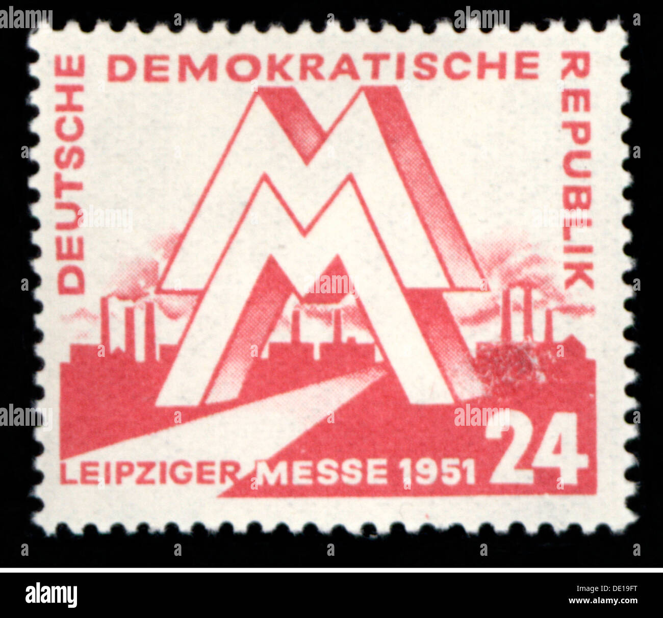mail, postage stamps, Germany, Deutsche Post of the German Democratic Republic, 24 pfennig postage stamp, design by Egon Pruggmayer, date of issue 4.3.1951, valid until 31.3.1952, motif: Leipzig spring trade fair 1951, East-Germany, East Germany, GDR, DDR, Leipzig fair, Leipzig, symbol, symbols, emblem, emblems, logo, logos, fair sign, MM, industry, industries, trade, economy, postal stamp, postal stamps, 1950s, 50s, 20th century, mail, post, republic, republics, pfennig, penny, postage stamp, postage stamps, design, designs, historic, historical, Additional-Rights-Clearences-NA - Stock Image