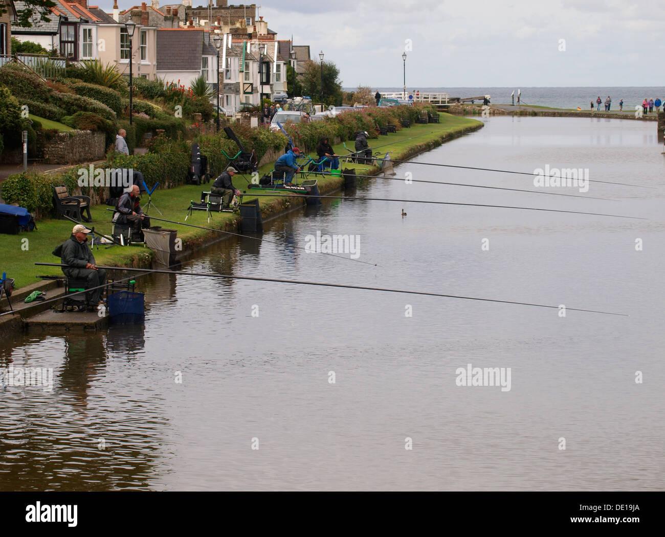 Fishing match on the Bude Canal, Cornwall, UK 2013 - Stock Image