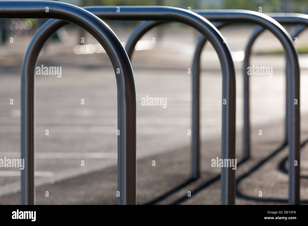 Close up rack for parking bikes at Olympic Copper Box, at the Queen Elizabeth Olympic Park, London, Landscape WP. - Stock Image