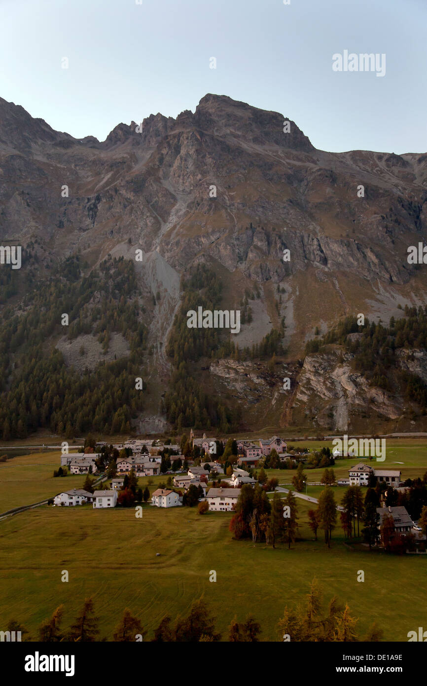 Sils Maria, Switzerland, overlooking the neighboring village of Sils Maria - Stock Image