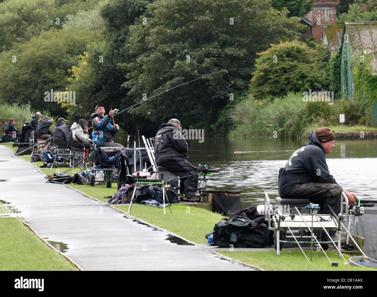 Fishing match, Bude Canal, Cornwall, UK 2013 - Stock Image