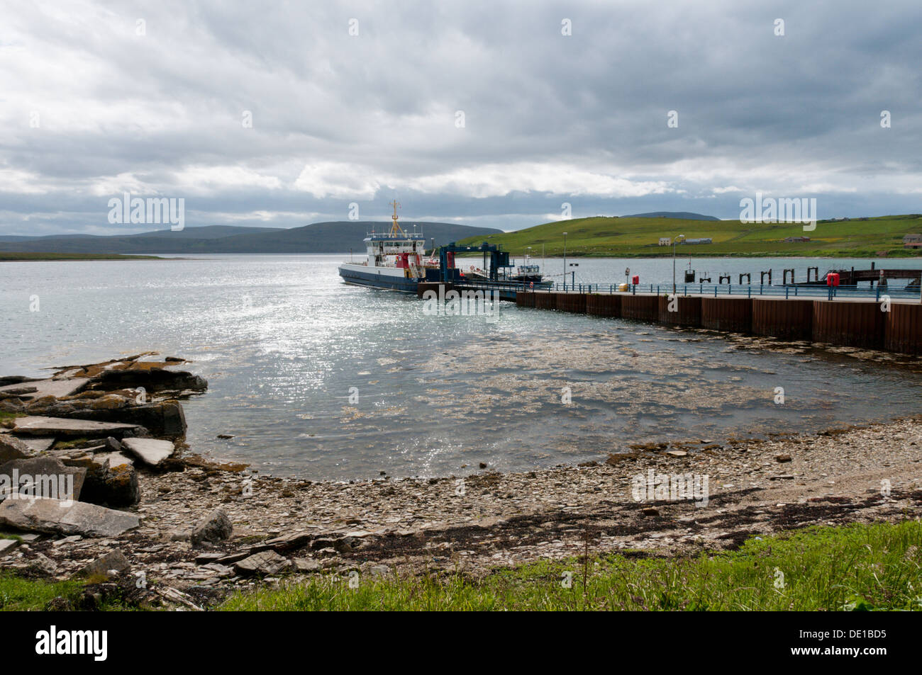 houton bay on orkney mainland with car ferry to hoy loading in the