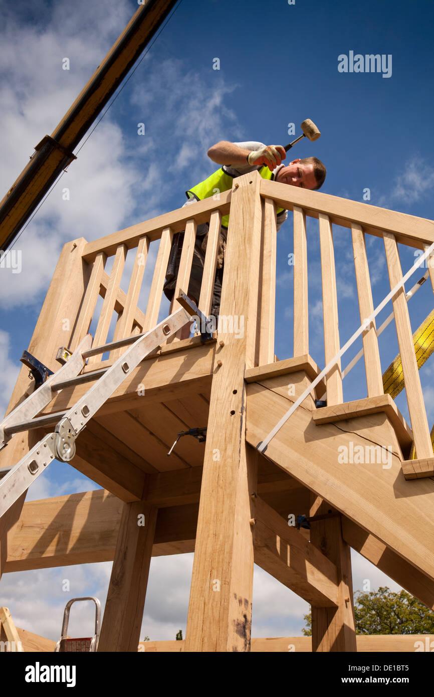 self building house, constructing green oak timber framed garage ...