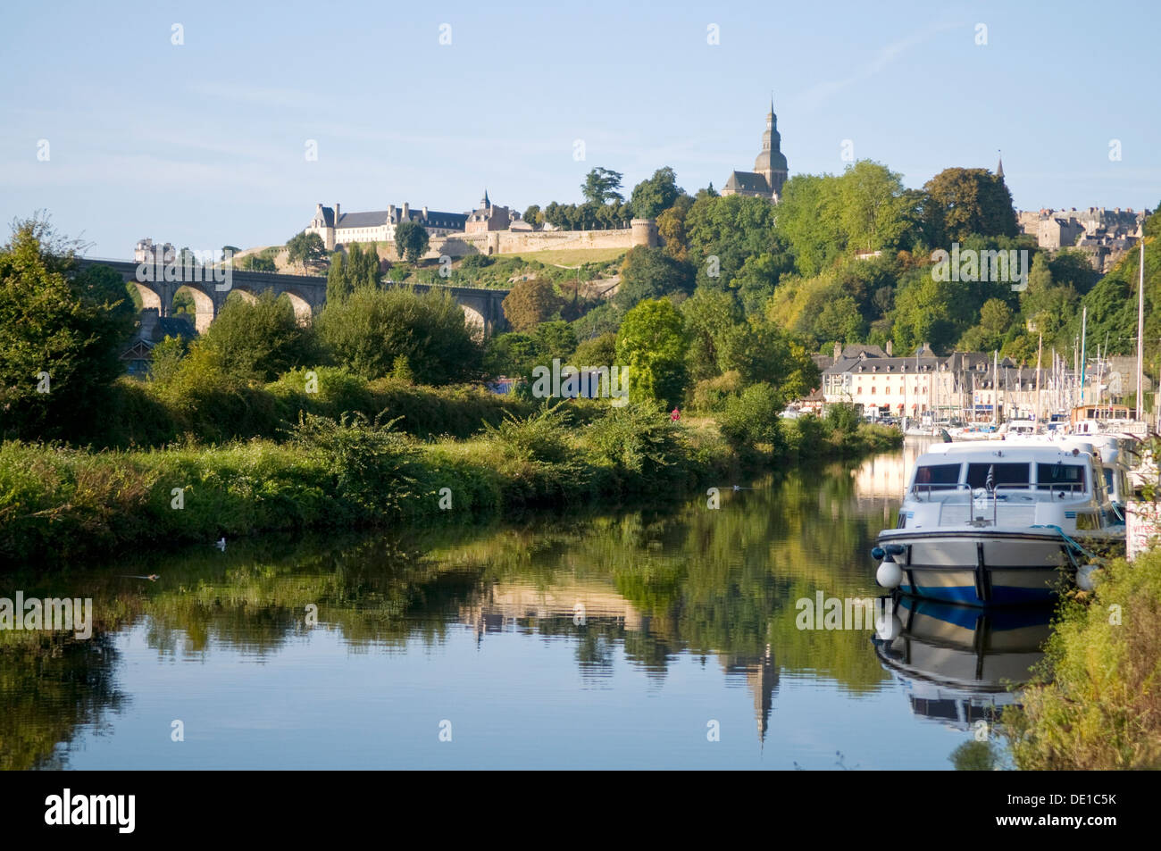 Dinan from River Rance, Brittany, France Stock Photo