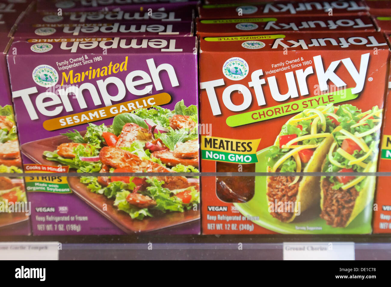 Berlin, Germany, meat substitutes offer in a supermarket Veganz - Stock Image