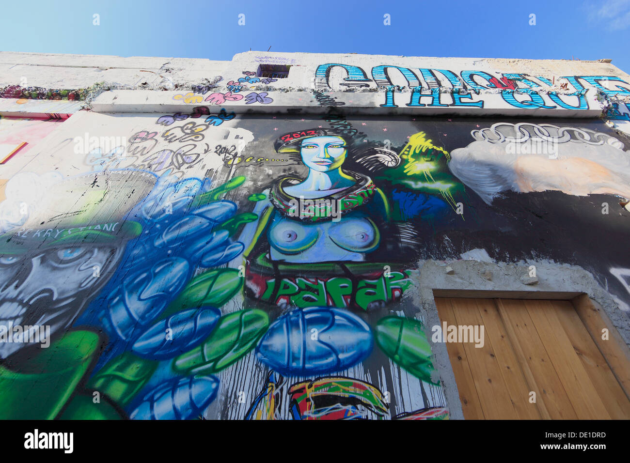 Cyprus, Limassol, Lemesos, houses with graffiti in the old town Stock Photo