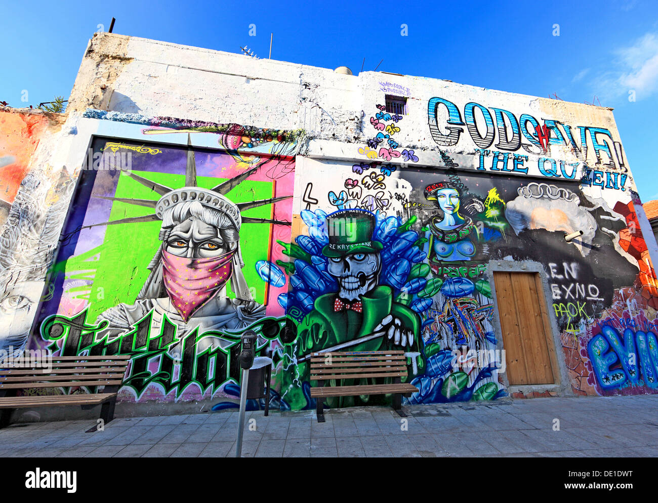Cyprus, Limassol, Lemesos, houses with graffiti in the old town - Stock Image