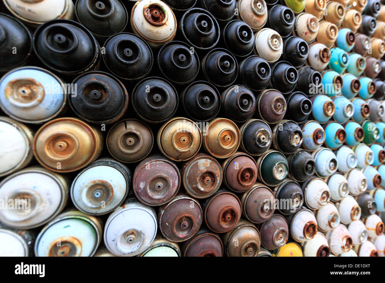 Cyprus, Limassol, Lemesos, house mural empty paint cans - Stock Image