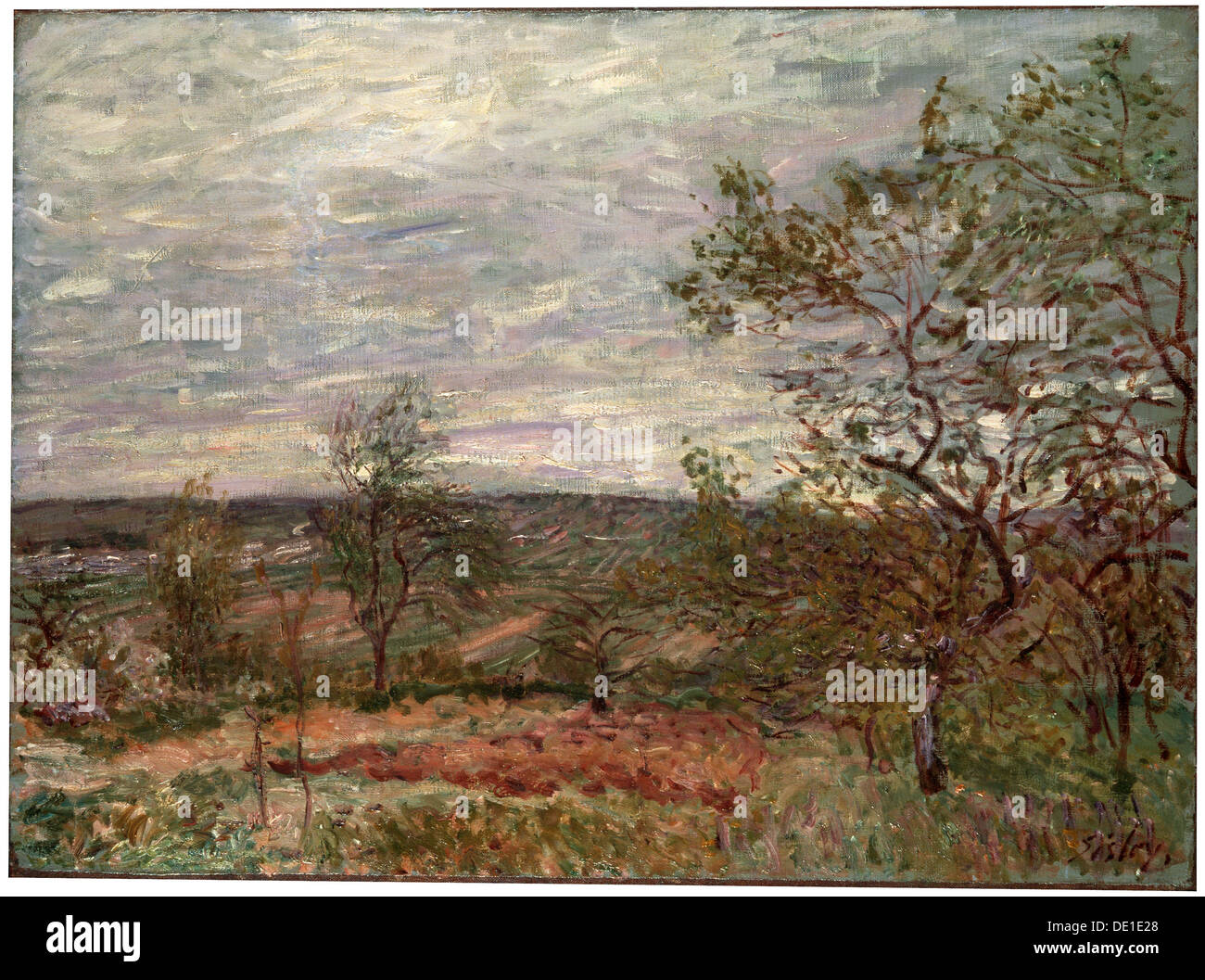 'Windy Day at Veneux', 1882.  Artist: Alfred Sisley - Stock Image