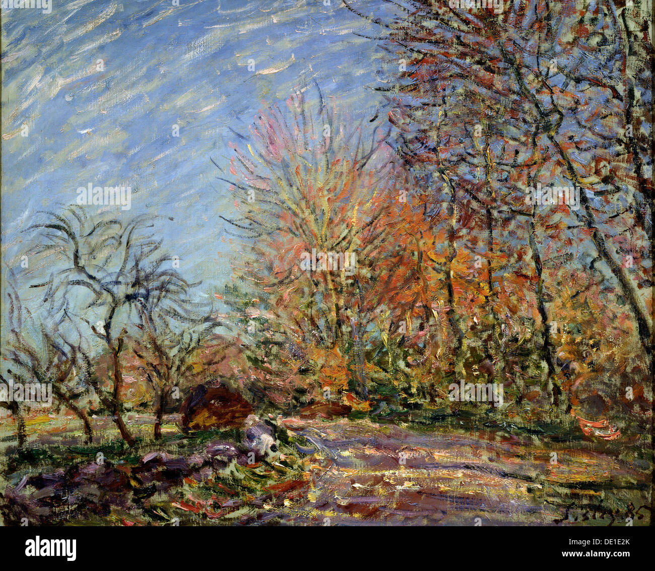 'At the edge of the forest in Fontainebleau', 1885.  Artist: Alfred Sisley - Stock Image