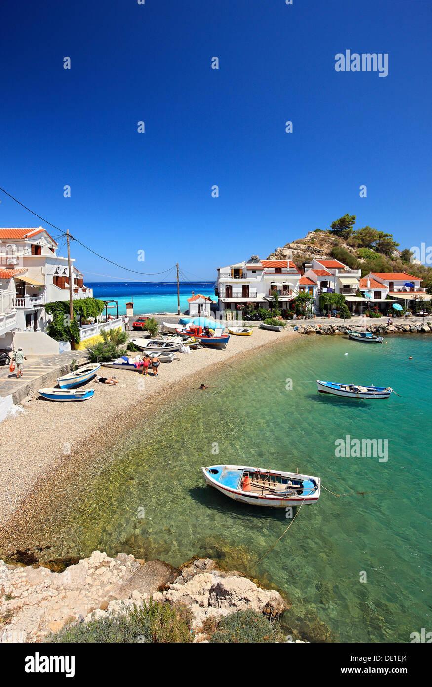 Kokkari village, one of the most popular tourist destinations in Samos island, Greece. - Stock Image
