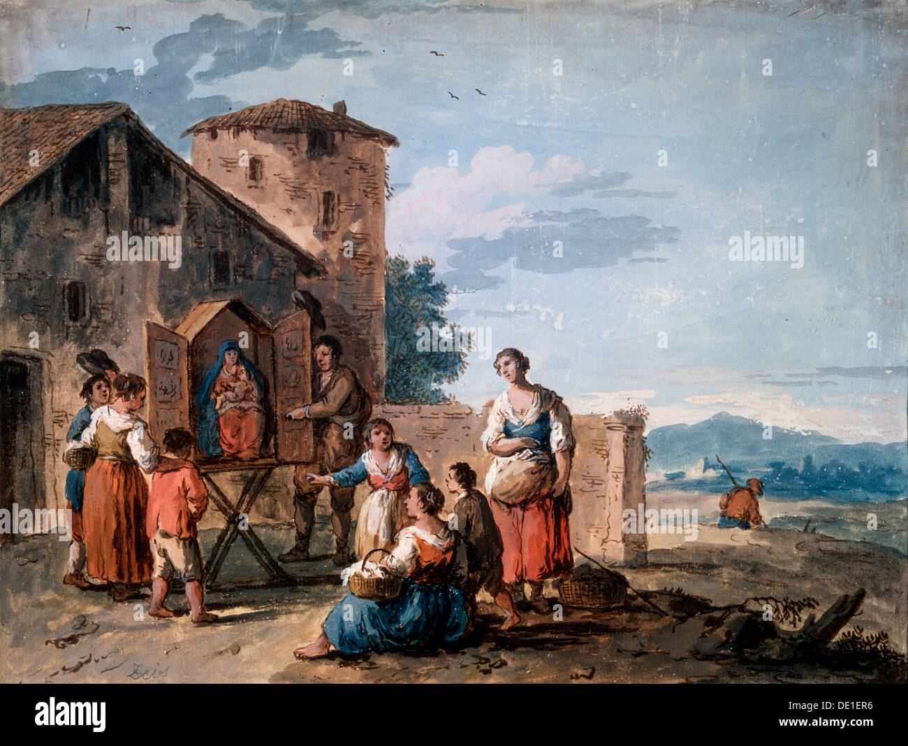 'A group of peasants before the tabernacle with the Standing Madonna statue, c1750.  Artist: Giuseppe Zais - Stock Image