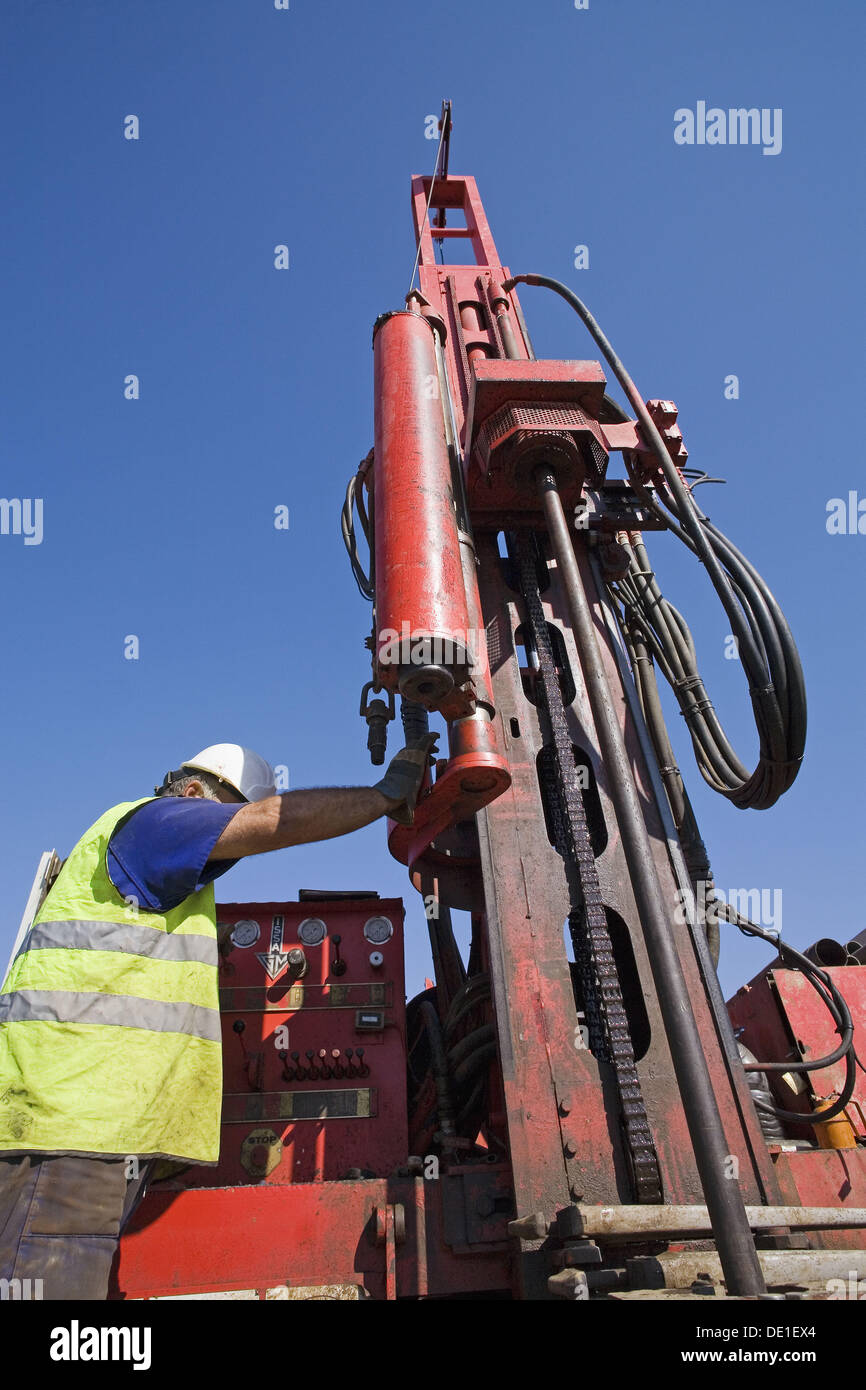 Drilling rig, geotechnical study. - Stock Image