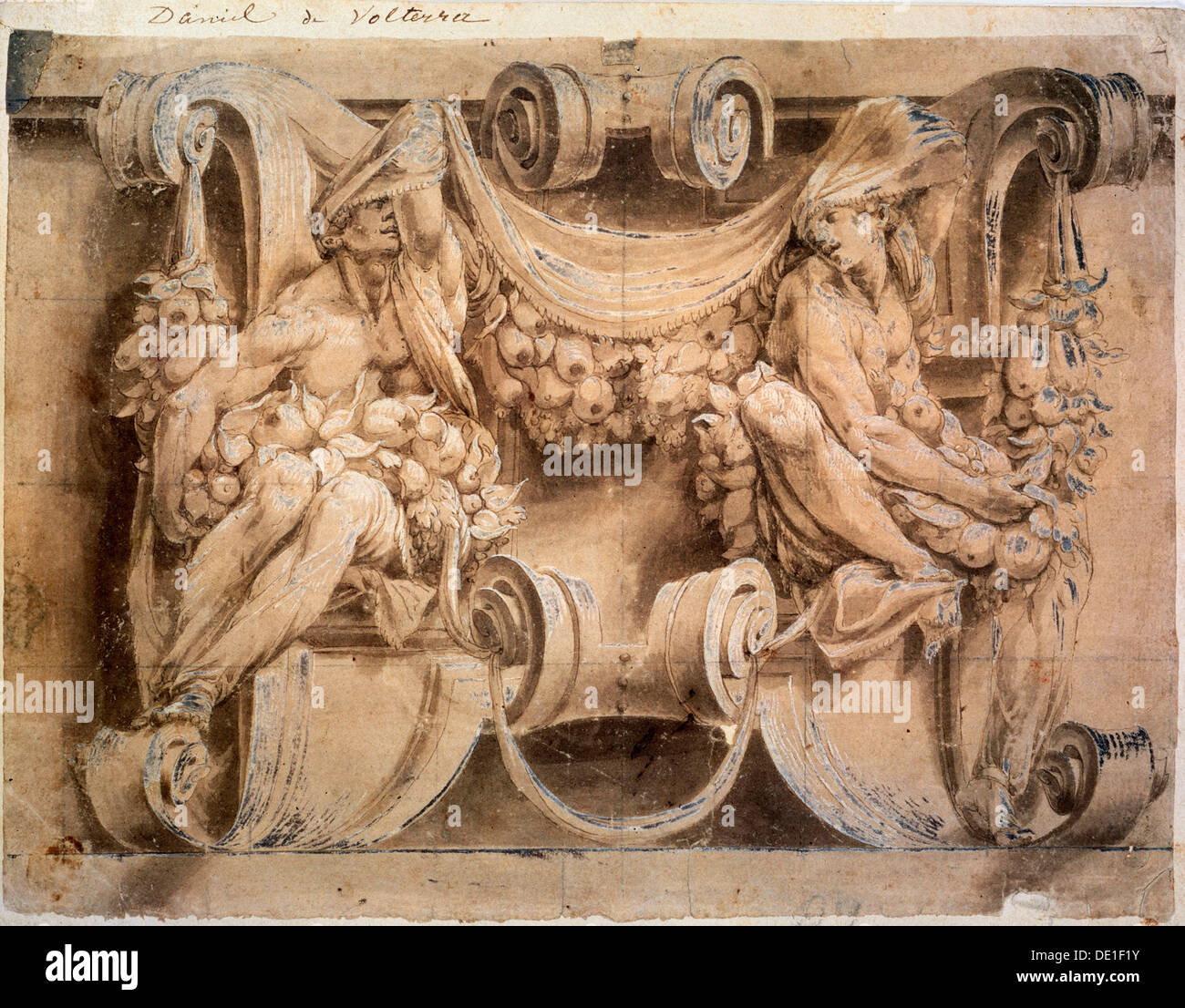 'Sketch for a frieze with two cariatides', 1546-1554.  Artist: Lelio Orsi - Stock Image