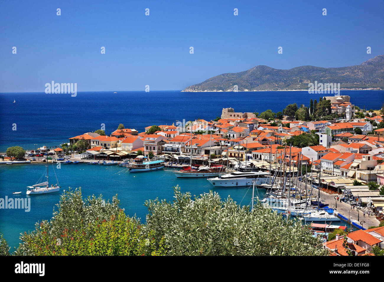 Pythagorio town, one of the most popular tourist destinations in Samos island, Aegean sea, Greece. Stock Photo