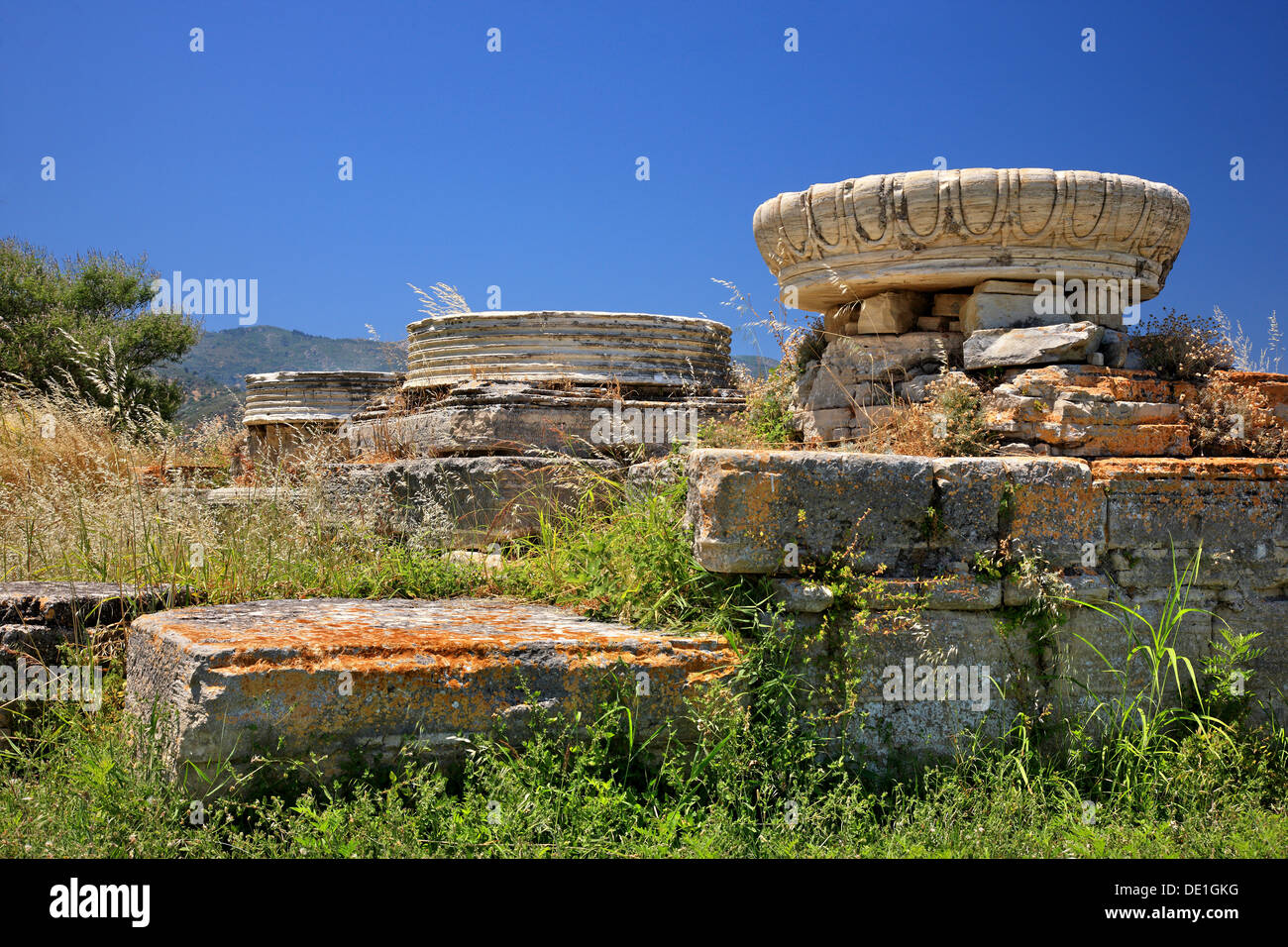 """The temple of Hera (""""Heraion""""), at the archaeological site of Heraion, Samos island, Greece Stock Photo"""