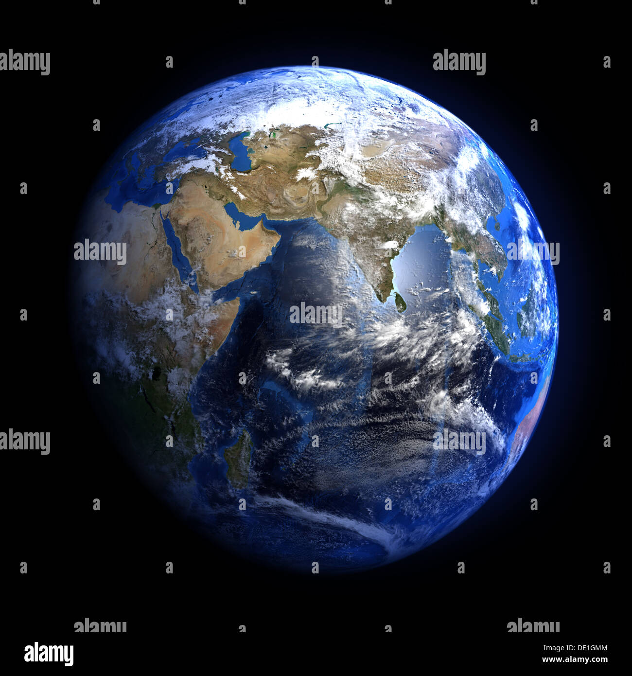 The Earth from space showing India and the Middle East. Isolated on black. Other orientations available. - Stock Image