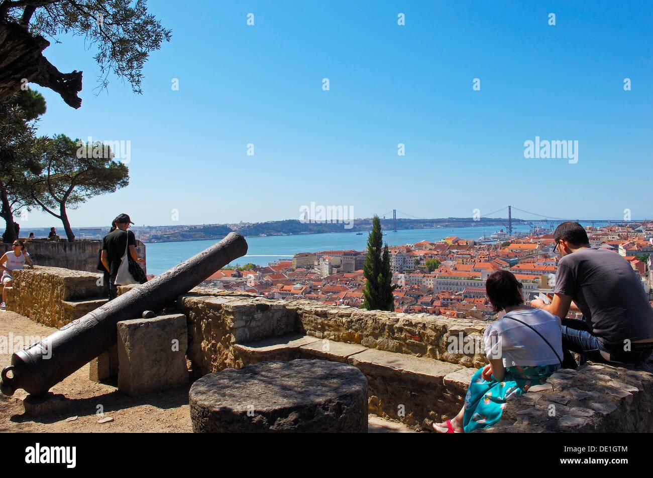 Lisbon, Tejo River and 25th Abril Bridge, View from St George´s Castle, Portugal, Europe. - Stock Image