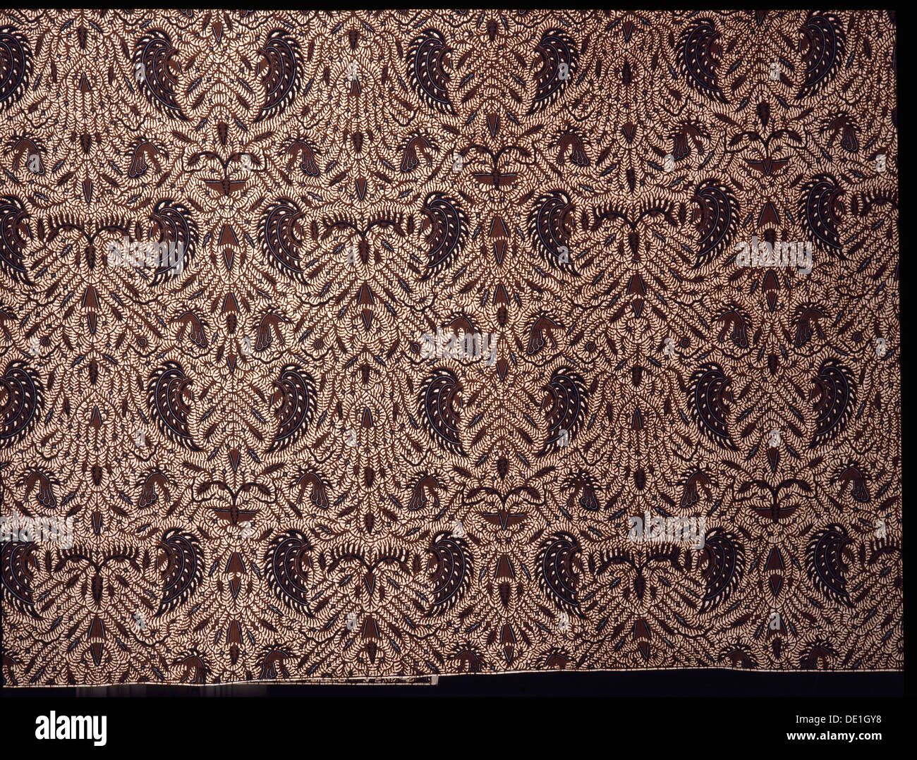 Detail of a batik kain with a design incorporating stylised wings. - Stock Image