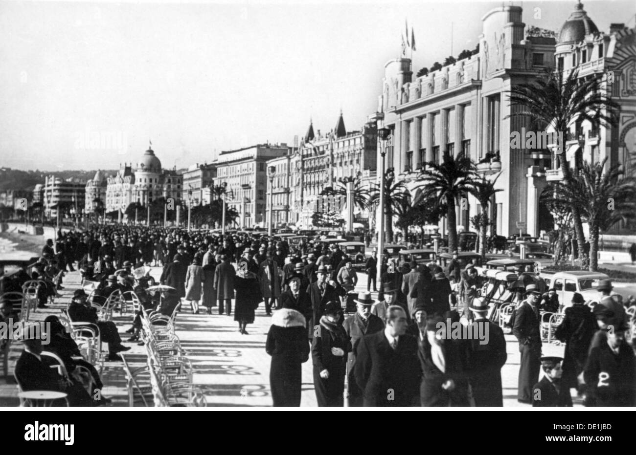 geography / travel, France, Nice, streets, Promenade des Anglais, view, early 1930s, Additional-Rights-Clearences-NA - Stock Image