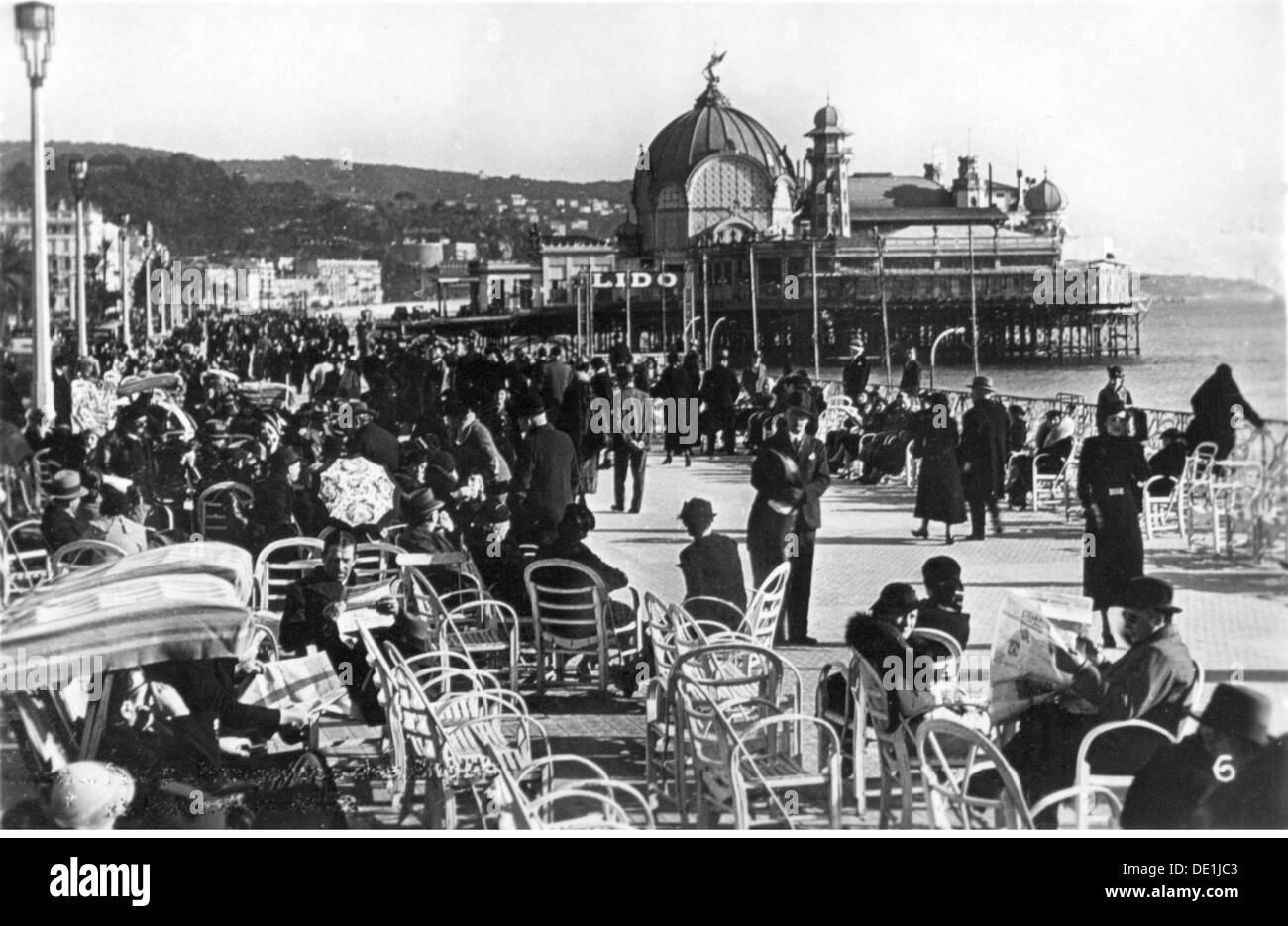 geography / travel, France, Nice, streets, Promenade des Anglais, view, Palais de la Jetee, early 1930s, Additional-Rights-Clearences-NA - Stock Image