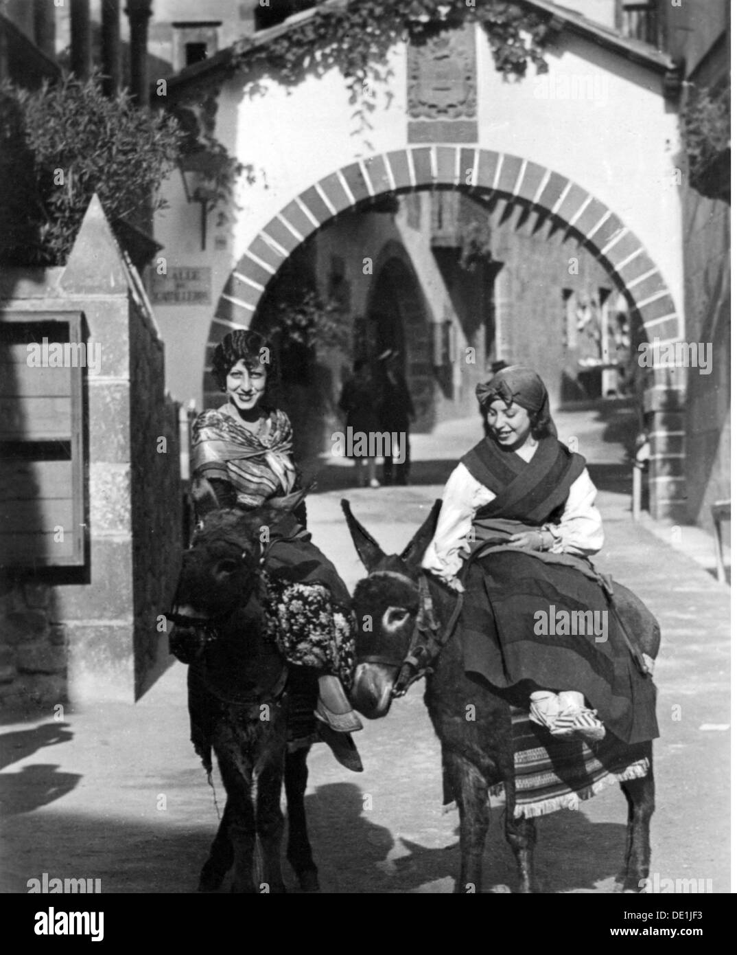 geography / travel, Spain, Barcelona, people, two women in Catalonian traditional costume riding on donkeys, 19.5.1936, Additional-Rights-Clearences-NA - Stock Image