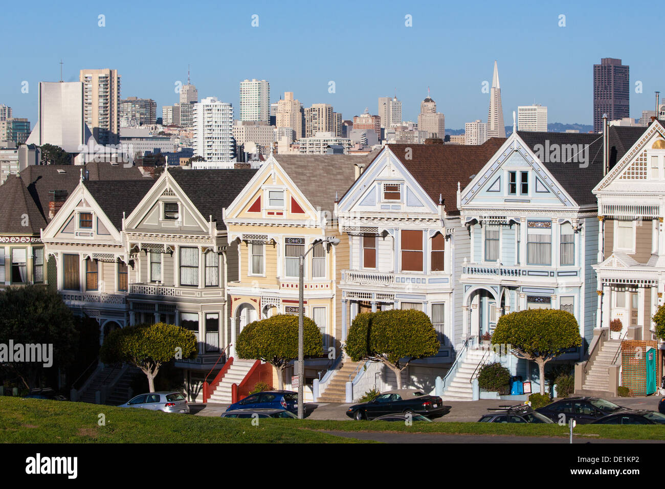 The Downtown area of San Francisco from Alamo Square Park at sunset. In California, USA - Stock Image