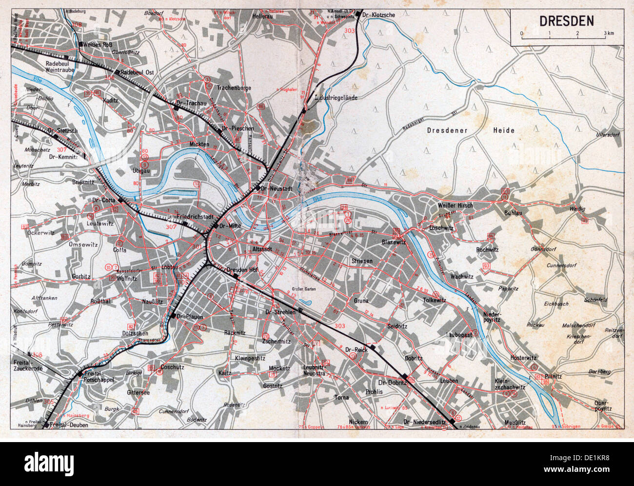 geography travel germany transport transportation outline map of the dresden lines of the german reichsbahn 1975 20th