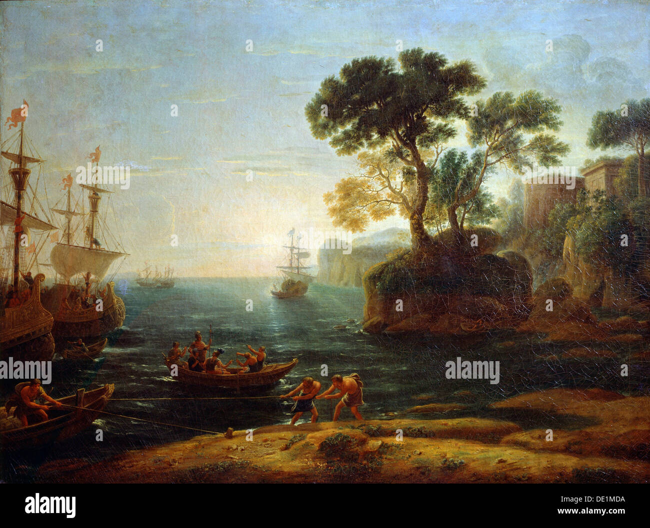 'Arrival of Aeneas in Italy. Morning of the Roman Empire', c.1620-1680. Artist: Claude Lorrain - Stock Image