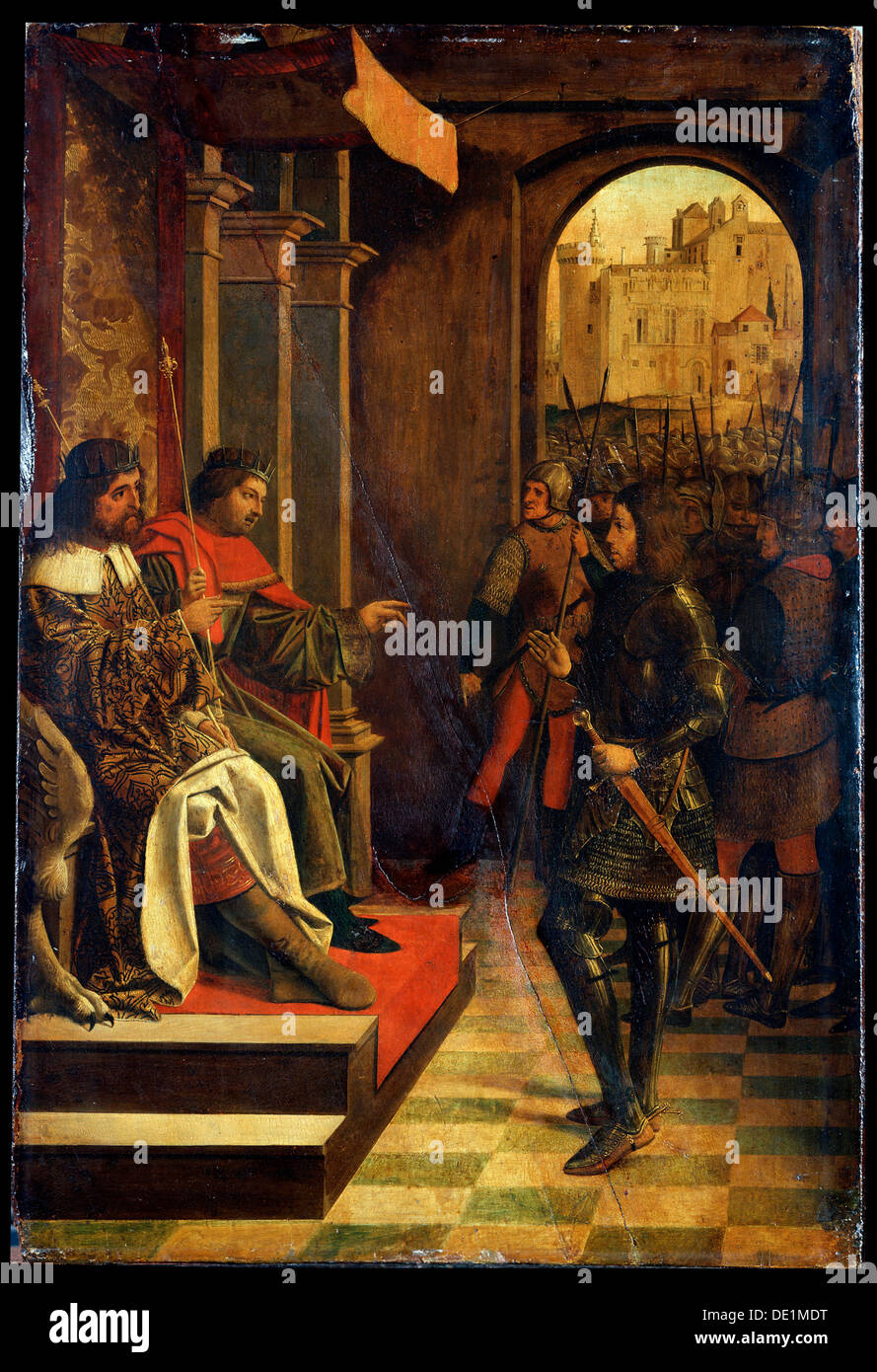 'Saint Sebastien before the Emperors Diokletian and Maximian', late 15th century. Artist: Josse Lieferinxe - Stock Image