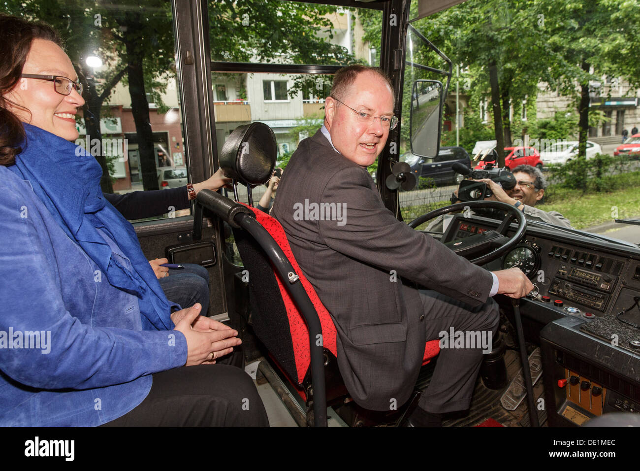 Berlin, Germany, Young Socialists campaign tour at the wheel of the tour bus - Stock Image
