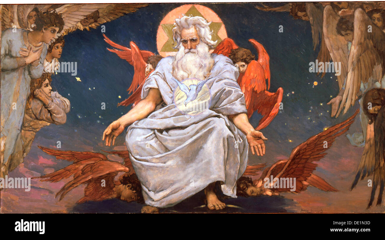 'God the Father', 1885-1896.  Artist: Viktor Mihajlovic Vasnecov - Stock Image