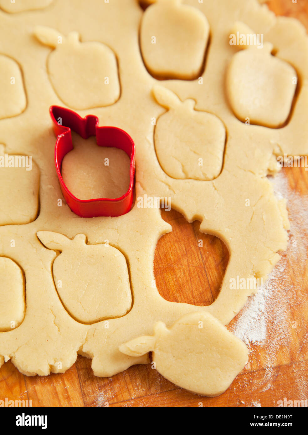 Apple Shaped Cookie Cutter On Raw Cookie Dough Stock Photo 60274980