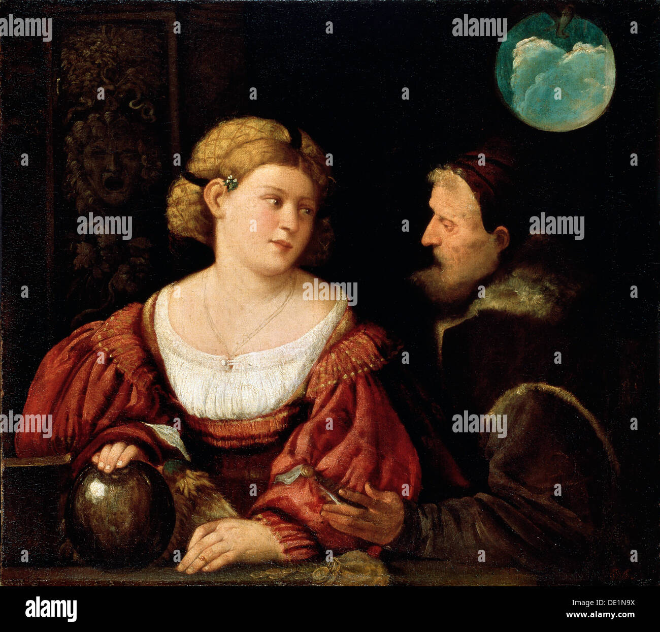 'Seduction (Old Man and a Young Woman)', 1515-1516.  Artist: Giovanni Cariani - Stock Image